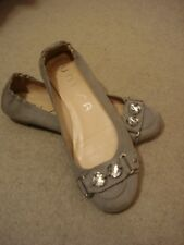 Unisa grey nubuck leather/sparkle stone front ballet style shoes UK 5/38