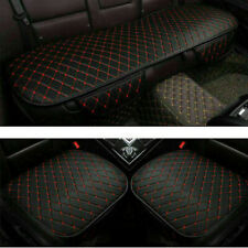 Universal Car Front Rear Seat Cover Breathable PU Leather Cushion Black+Red Line