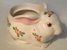 Avon White Bunny Rabbit Planter Candle Holder Hand Painted Brazil Vintage