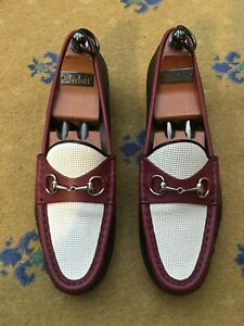 Gucci Womens Shoes Horsebit Loafers UK 6 US 9 EU 39 Ladies 1953 Red White Black
