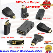 Micro HDMI,Mini HDMI,HDMI to DVI Adapter Coupler and Converter, Lots of 8 Packs.