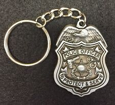 PEWTER POLICE OFFICER PROTECT & SERVE KEY CHAIN KEYCHAIN - Support Blue Gift