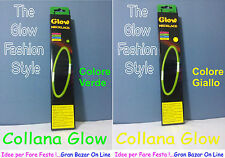 COLLANA GLOW 2 Pz FLUORESCENTE COLORE GIALLO VERDE FLUO DJ PARTY FASHION SEXY