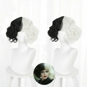 Cruella De Vil Cosplay Wig Women Black White Short Curly Hair Synthetic Wigs