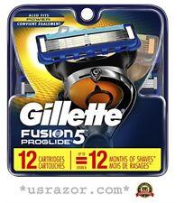12 GILLETTE FUSION 5 Proglide Razor Blades Refill Cartridges Fit Flexball Shaver