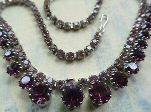 vintage purple rhinestone graduated 2 row silver tone chain necklace -10