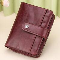 Women's Genuine Leather Short Wallet RFID Blocking Credit Card Holder Lady Purse