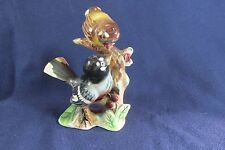 Vintage Lefton Mother Feeding Baby Bird Figure, Birds on Branch