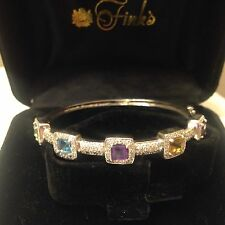 14k White Gold Diamond & Multi Gemstone Bangle Bracelet. 5+-Carats. 14.7 Grams