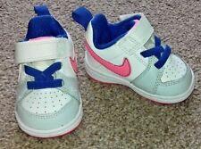 Girls Infant Nike Trainers White Pink Blue Hook & Loop Fasten Size UK 1.5 SB7
