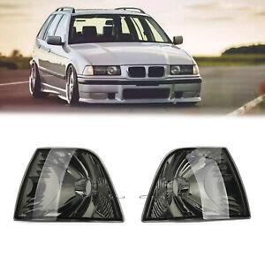 Pair Corner Light Turn Signal Smoke Lens for BMW E36 3 Series 4DR 92-98 No Bulb