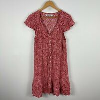 Sunny Girl Womens Dress 12 Red Floral Short Sleeve V-Neck Button Closure