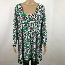 SLINKY BRAND Plus Size 2X Stretch Shirt Top Scoop Neck Floral Green White USA