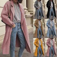 Womens Overcoat Trench Coat Ladies Long Blazer Duster Jacket Suit Plus Size