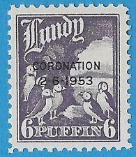 + 1953 Lundy Island Bristol Channel 6p Puffin Family Coronation Overprint MNH