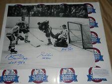GORDIE HOWE BOBBY HULL GLENN HALL SIGNED Blackhawks Wings 16x20 photo W HOF