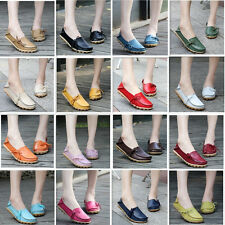 Womens Casual oxfords Moccasin Leather Shoes Driving Peas Loafers Flats Walking