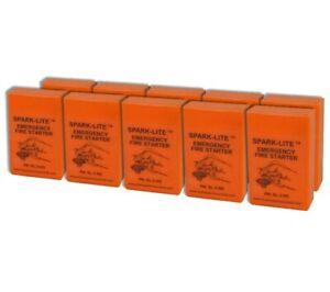 Spark Lite Firestarter 10 pack Orange Mil Spec Sparker and Tinder Quik Tabs