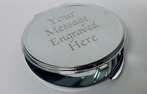 Engraved Silver Compact Mirror Wedding Birthday Bridesmaid Gift Present Bride