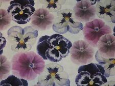 Pansies Floral Flowers 100% Cotton Fabric 1/2 Yard Precut