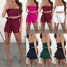 Women Casual Ruffle Crop Top Shorts Two Pieces Set Romper Jumpsuit Outfit M6N6