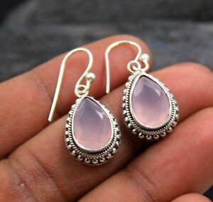 Rose Quartz Gemstone Handmade Drop Dangle Earring Solid 925 Sterling Silver