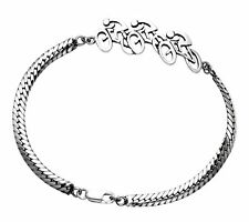 Sterling Silver Racing Road Bike Trio Bracelet - BR433-7.5""
