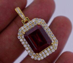 2.50 Ct Diamonds & 20 Ct Red Stone Pendant Celebrity Style YG Valentineday Spl