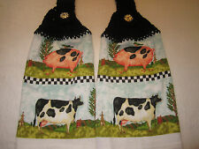 2-HANGING KITCHEN TOWELS+NEW+LOVE +GREAT GIFT+100% COTTON WHITE