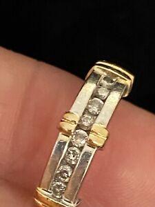 14K White Yellow gold diamond wedding band ring Ladies Womens Size 7
