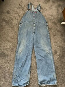 """DICKIES OVERALLS DUNGAREES MEN'S USED SIZE 42/32 42"""" WAIST BLUE DENIM (3)"""