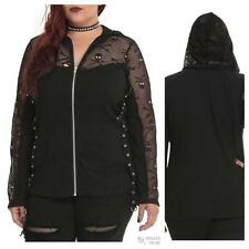 Tripp Plus Size Gothic Black Skull Lace Mesh Zip Hoodie TORRID BOW 5 5X