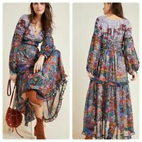 NEW Maeve Anthropologie Annabella Maxi Tiered Dress Boho Floral Womens Size 0