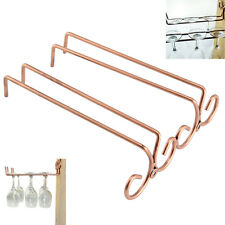 2 Rows Glass Hanger Wall-Mounted Wine Glass Storage Rack Bar Glass Hanging Rail
