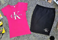 New Women Pink Black Calvin Klein Jeans T-Shirt and Skirt Set No1 Free Shipping