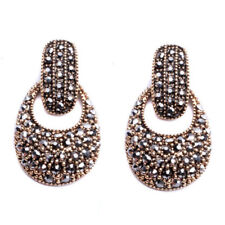 Vintage Gold Black Crystal Earrings Double Drop Retro Vintage Statement 2018
