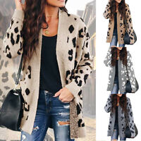 Women Sexy Autumn Leopard Print Cardigan Coat Tops Ladies Knitted Sweater Jumper