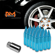 M12X1.5 Sky Blue JDM Hex Spiked Cap Wheel Lug Nuts+Extension 20mmx90mm Tall 20Pc