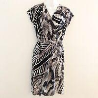 Chico's Faux Wrap Dress Black White Gray Multi Print Womens Size 0