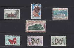 Lot of 7 Central Africa Stamps - Mini Collection Mint / Used SIngles -CF02