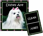DOG DISHWASHER MAGNET (Maltese) - Clean/Dirty *Ship FREE