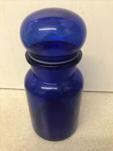 Vintage MADE IN BELGUM Large Apothecary Container Storage Jar Blue Glass