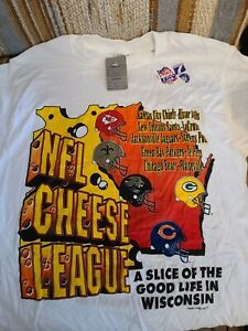 NFL Vintage Cheese League T Shirt Large Tall Wisconsin Chiefs Saints Packers