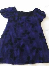 DEVELOPMENT BY ERICA DAVIES Black Purple Floral Lined Silk Top ,size Large EUC