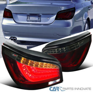 Fit 04-07 BMW E60 5-Series Red Smoke LED DRL Bar Tail Lights Rear Brake Lamps