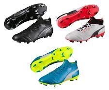 Puma ONE 17.1 FG Leather Soccer Cleats Men's Size 7-13 Black White Blue 104062