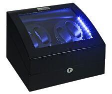 NEW Diplomat Black Automatic Quad 4 Watch Winder Box / w LED lights