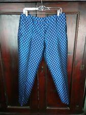 Anthropologie Leifsdottir Womens Pants SZ 10 Cropped Foulard Jacquard Blue