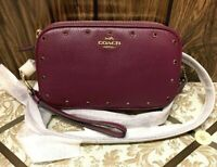 BNWT Coach Crystal Border Rivets Crossbody Clutch in Pebble Leather Berry/Gold