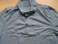 Mens AllSaints Blue Fitted Short Sleeve Polo Shirt Size M